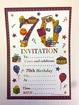70th Birthday Party Invitations Male Design 20 Sheets And Envelopes