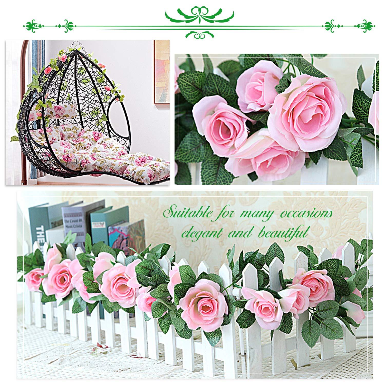 hiedra falsa Norbase Hiedra decorativa artificial hiedra artificial verduras 82 pies hojas colgantes 12 unidades 2 rosas artificiales para bodas fiestas