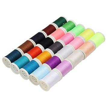 Curtzy 25 piezas hilo de poliéster - hilos de bordado para coser a máquina o aguja