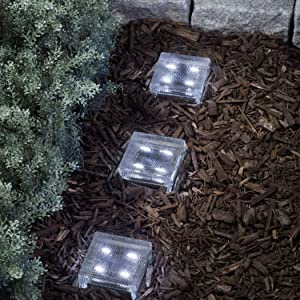 """LampLust Glass Solar Brick with LED Lights - Path & Garden Accent Lighting, 4"""" x 4"""" Square, Lined Texture, Cool White, Waterproof, Outdoor - Rechargeable Batteries Included"""