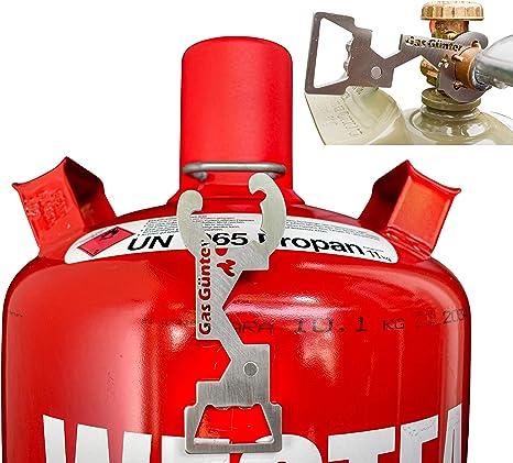 Llave universal para bombona de gas de 5,11,33 kg (camping, caravanas, barbacoa) – de acero inoxidable, diseñada y fabricada en Alemania – Nuevo con ...