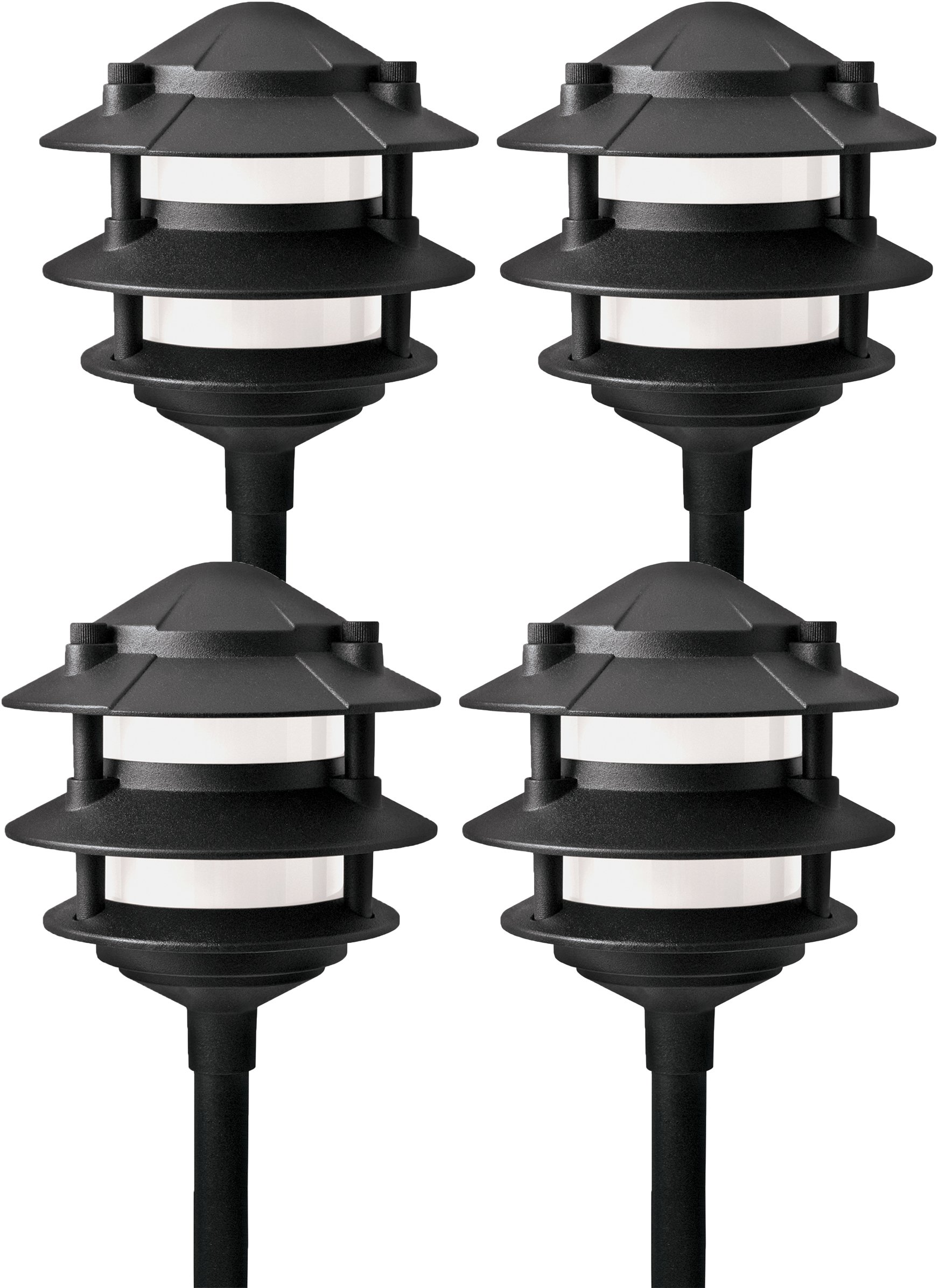 Paradise GL22764 Low Voltage Cast Aluminum 11W Path Light (Black, 4 Pack) by Paradise