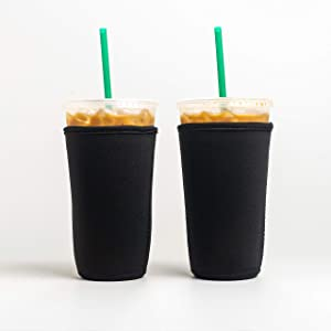 Reusable Insulated Neoprene Iced Coffee Beverage Sleeves | Cold Drink Cup Holder for Starbucks Coffee, McDonalds, Dunkin Donuts, Tim Hortons and More | (Black, 2 PK Large 32oz)