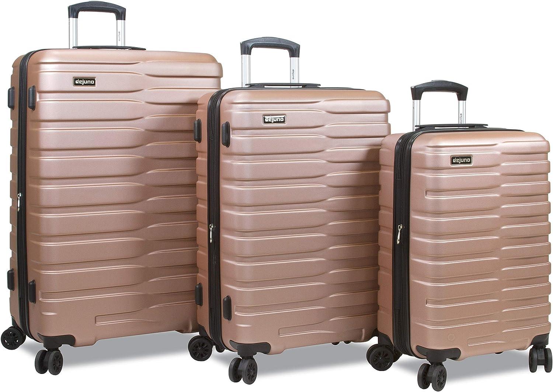 Dejuno Cortex Lightweight 3-Piece Hardside Spinner Luggage Set Gold