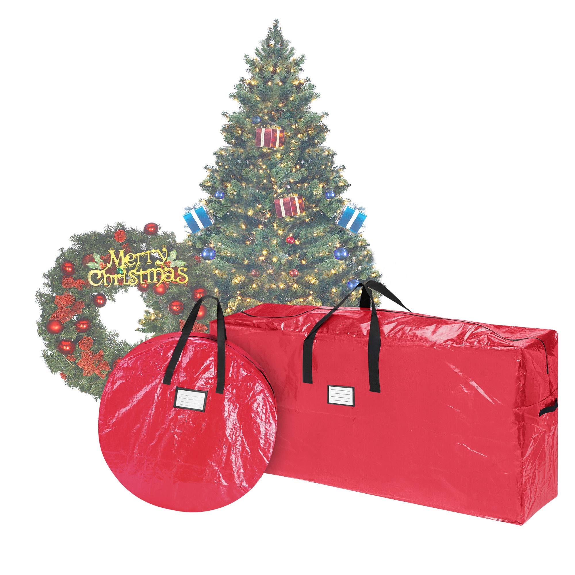 Elf Stor 83-DT5523 Combo | Christmas Storage 9 Foot Artificial Tree and 30 inch Wreath Bag | Red