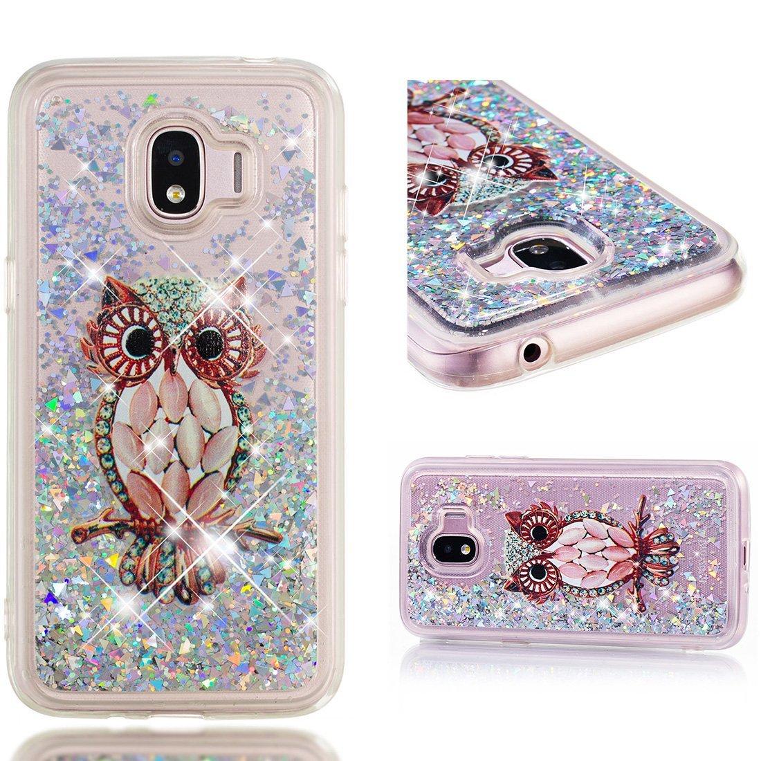 Cover Samsung Galaxy J2 Pro 2018, Lyzwn 3D Glitter Liquido Sabbie Mobili Trasparente Morbido TPU Silicone Custodia per Samsung Galaxy J2 Pro 2018 Brillantini Sequin Posteriore Protettiva Case