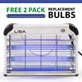 Bug Zapper & Electric Indoor Insect Killer by LiBa – Mosquito, Bug, Fly & Other Pests Killer – Powerful 2800V Grid 20W Bulbs – Free 2-Pack Replacement Bulbs Included