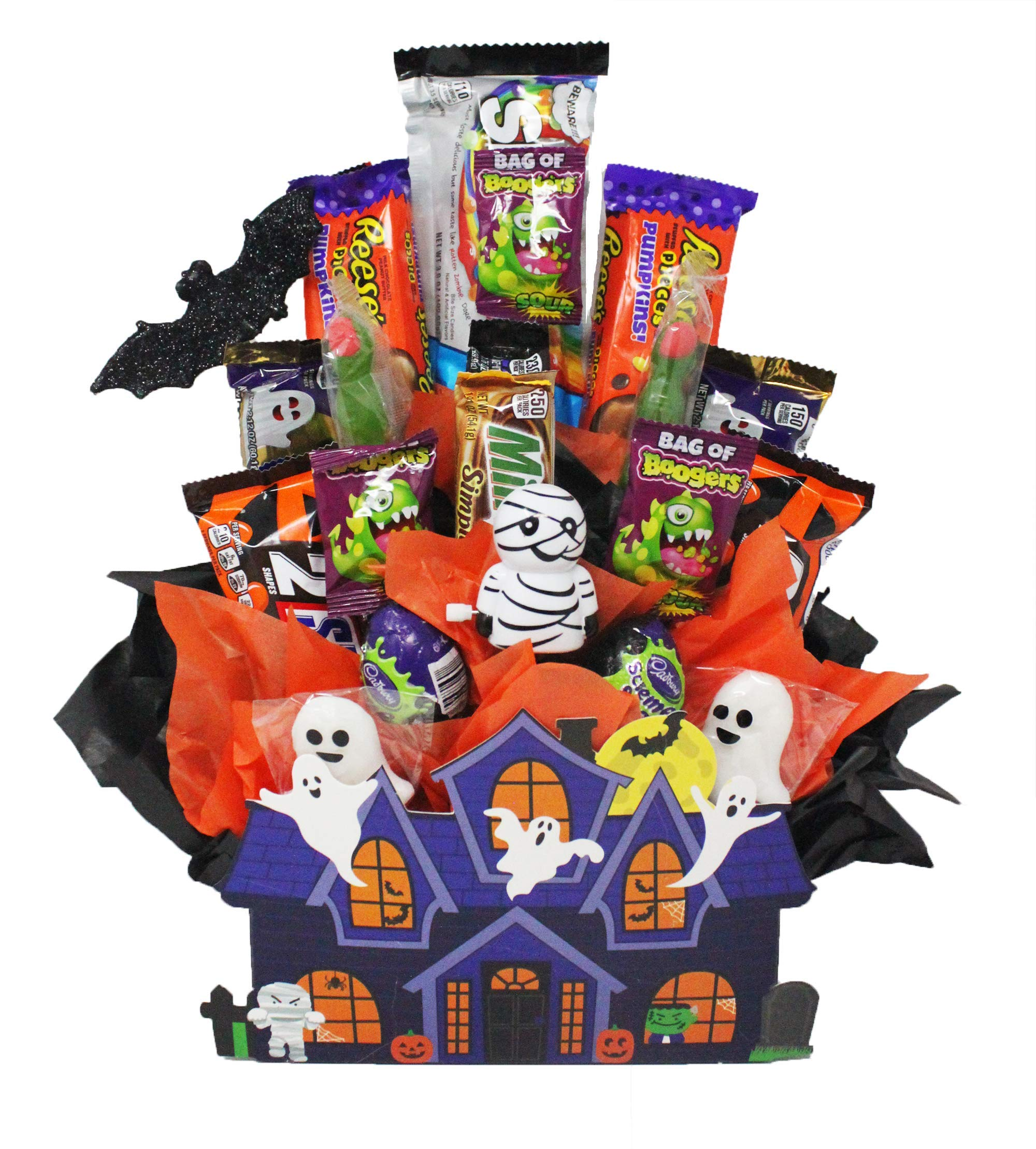 Around the Clock Gifts Ghoulish Haunted House Halloween Candy Bouquet loaded with Cadbury Green Scream Eggs, Twix Ghosts, Snickers Jack-o-lanterns, Reese's Pieces Pumpkins and other assorted candy. by Online 24/7 LLC