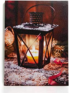 """NIKKY HOME 16"""" x 12"""" Christmas LED Lighted Canvas Wall Art Prints Candle Lantern Holder Picture for Holiday Decor"""