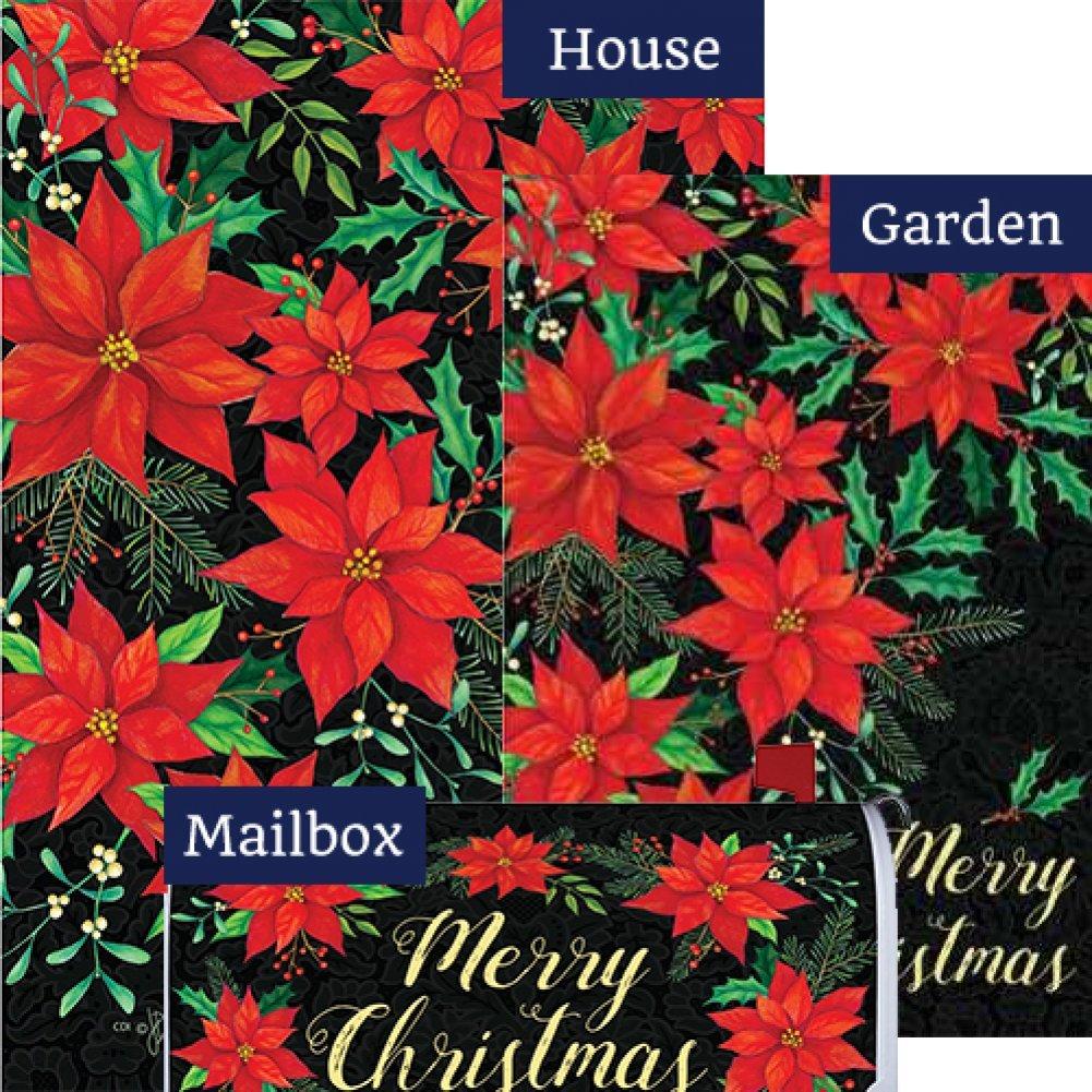 Christmas Poinsettia Flag Mailbox Cover Bundle (Bundle Of 3) by Custom Decor