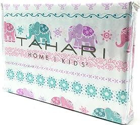 Tahari Home Kids Colorful Elephants Floral Pastel Twin Sheet Set