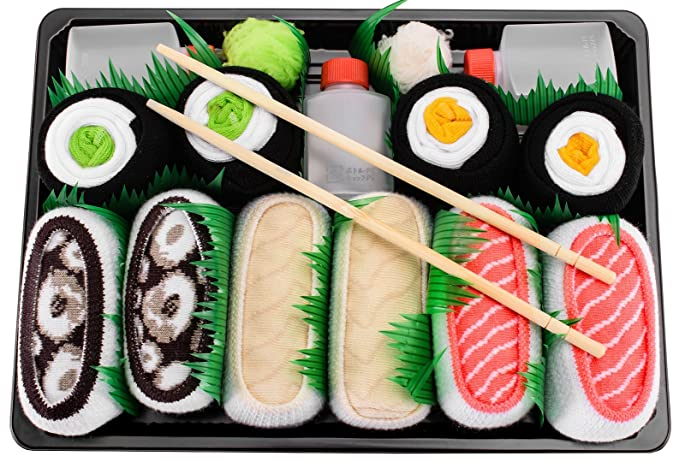 Sushi Socks Box - 5 pares de CALCETINES: Salmón, Pampanito, Pulpo, Maki de Pepino y Oshinko - REGALO DIVERTIDO, Algodón de alta Calidad Tamaños 41-46, ...