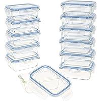 Aktive - Pack 12 Recipientes Herméticos de Vidrio, Tupper Cristal Apto para Microondas, Envases para Comida con Cierre…