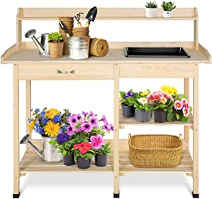 EAGLE PEAK Outdoor Garden Potting Bench Wooden Work Station Table with Removable Dry Sink, Storage Shelf, Handy Hooks for Backyard, Patio, Lawn, Natural