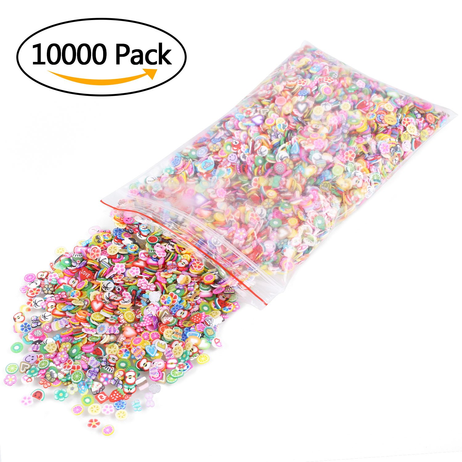 Molain 10000PCS Nail Slices 3D Fimo Fruits Animals Flowers Santas Emoji Nail Art Stickers Assorted Color