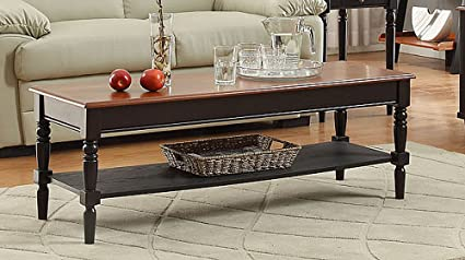 Convenience Concepts French Country Coffee Table With Bottom Shelf, Natural  Top
