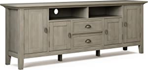 SIMPLIHOME Redmond SOLID WOOD Universal TV Media Stand, 72 inch Wide, Farmhouse Rustic, Living Room Entertainment Center with Storage, for Flat Screen TVs up to 80 inches in Distressed Grey