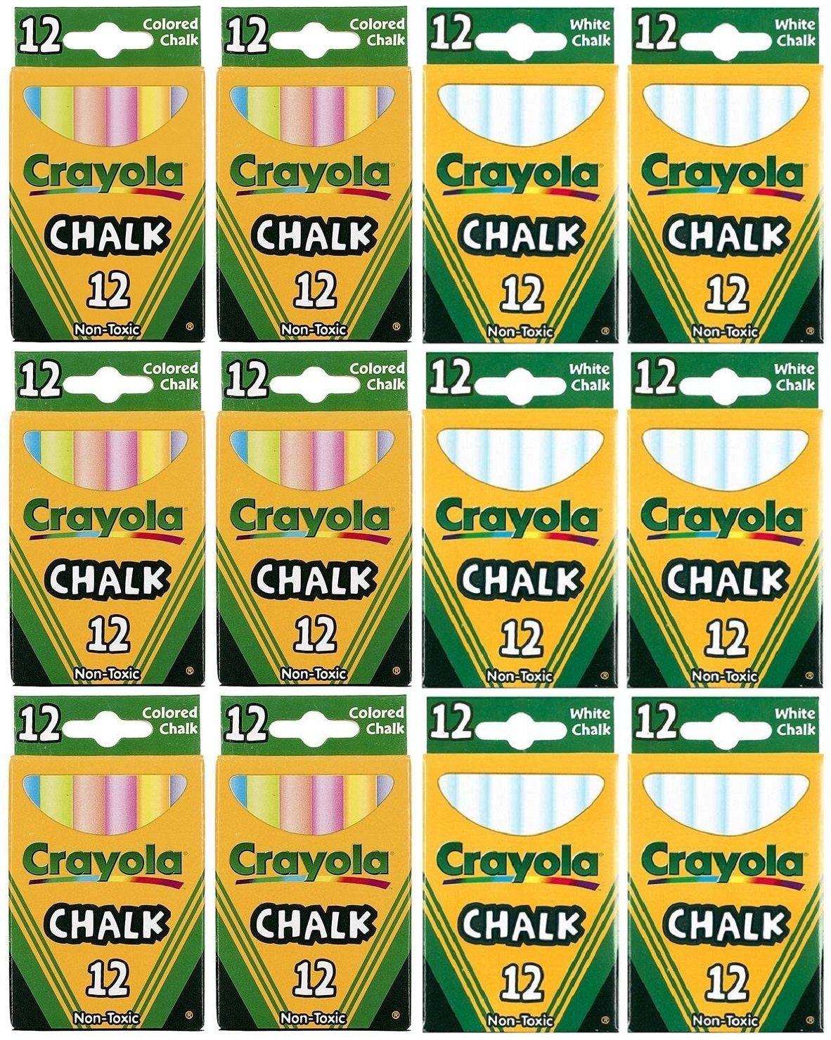 Crayola Chalk Sticks, 6 White Boxes + 6 Colored Boxes, 12 Sticks Per Box (Total 144 Chalk Sticks)