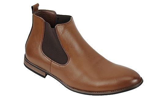 Xposed Botas de Ante Chelsea Italiano Estilo Elegante y Casual Retro Desierto Concesionario Mid Tobillo Zapatos, Color Gris, Talla 41.5