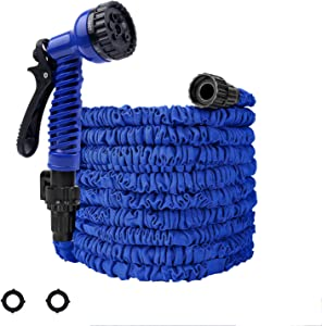 Garden Hose 25ft Expandable Garden Hose Kink-Free Flexible Water Hose with 7- Pattern Spray Nozzle,Extra Strength Fabric Protection Collapsible Hose for Gardening Lawn Car Pet Washing