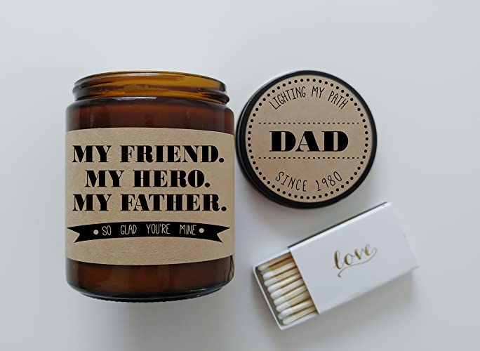 Amazon Gift For Dad Fathers Day My Friend Hero Father Birthday Card Candle Him