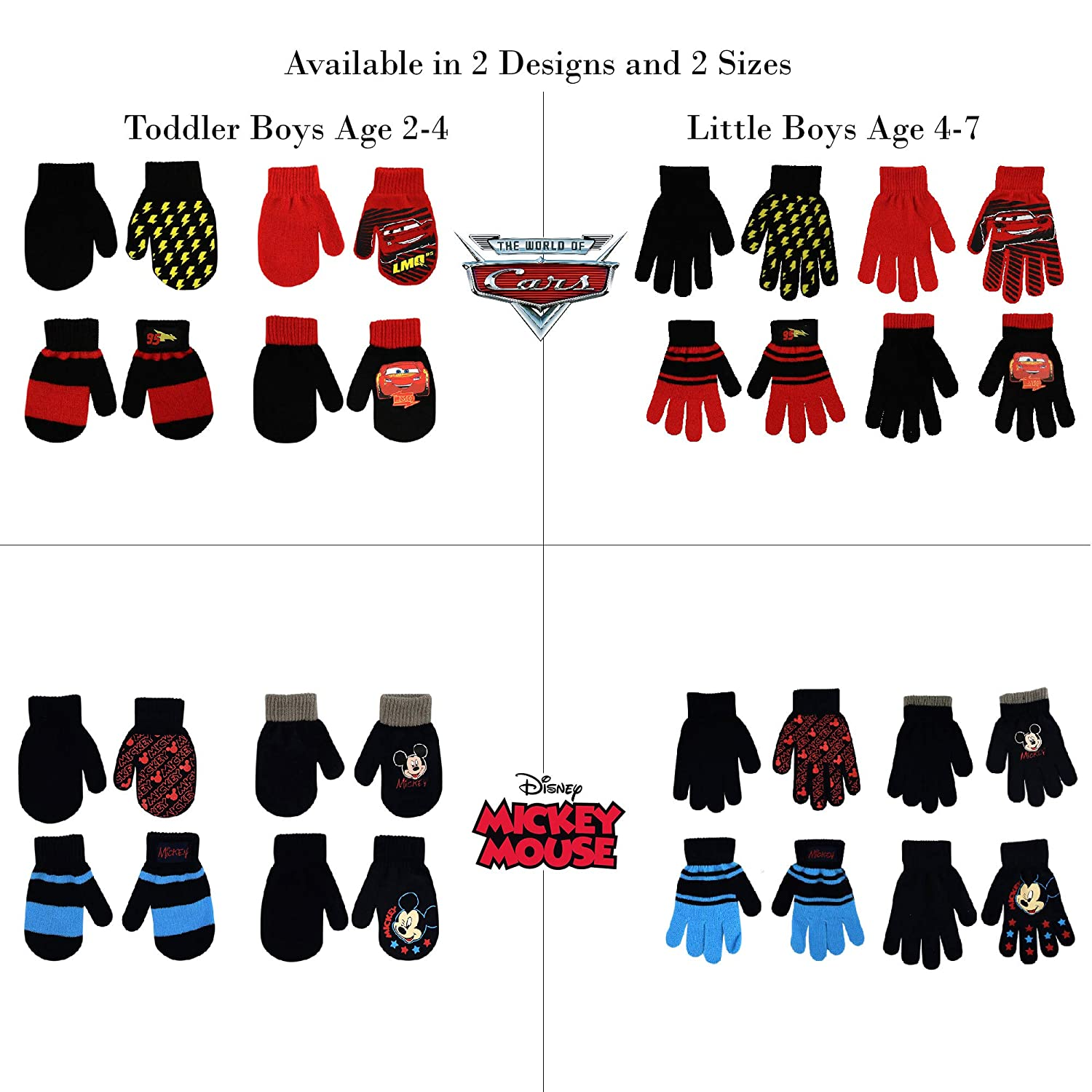 b0e968c8176 ... Age Disney Assorted Designs 4 Pair Gloves or Mittens Cold Weather Set