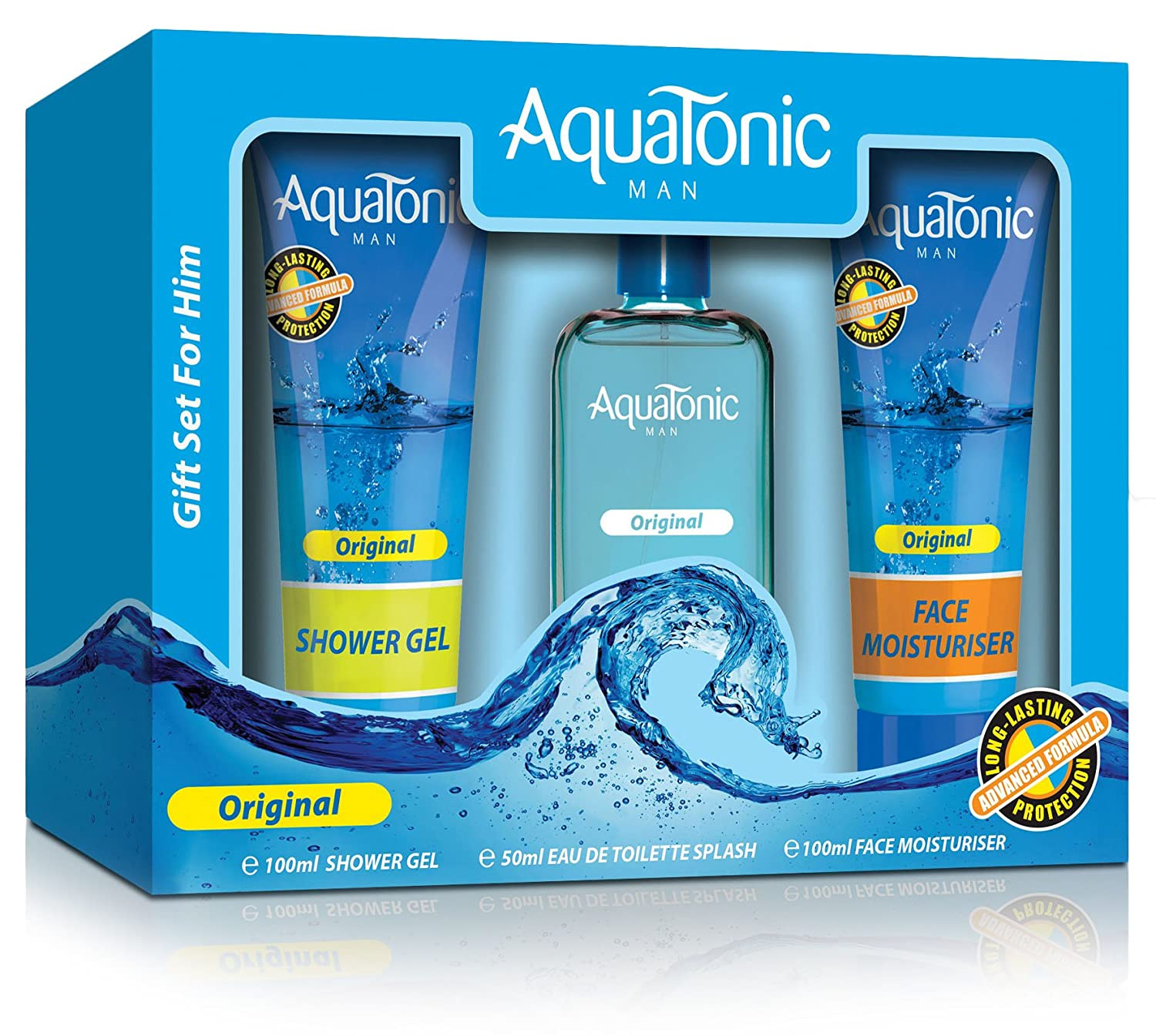Aquatonic EDT/Shower Gel/Moisturiser Mens Original Gift Set Pack 3-Piece AQUA01