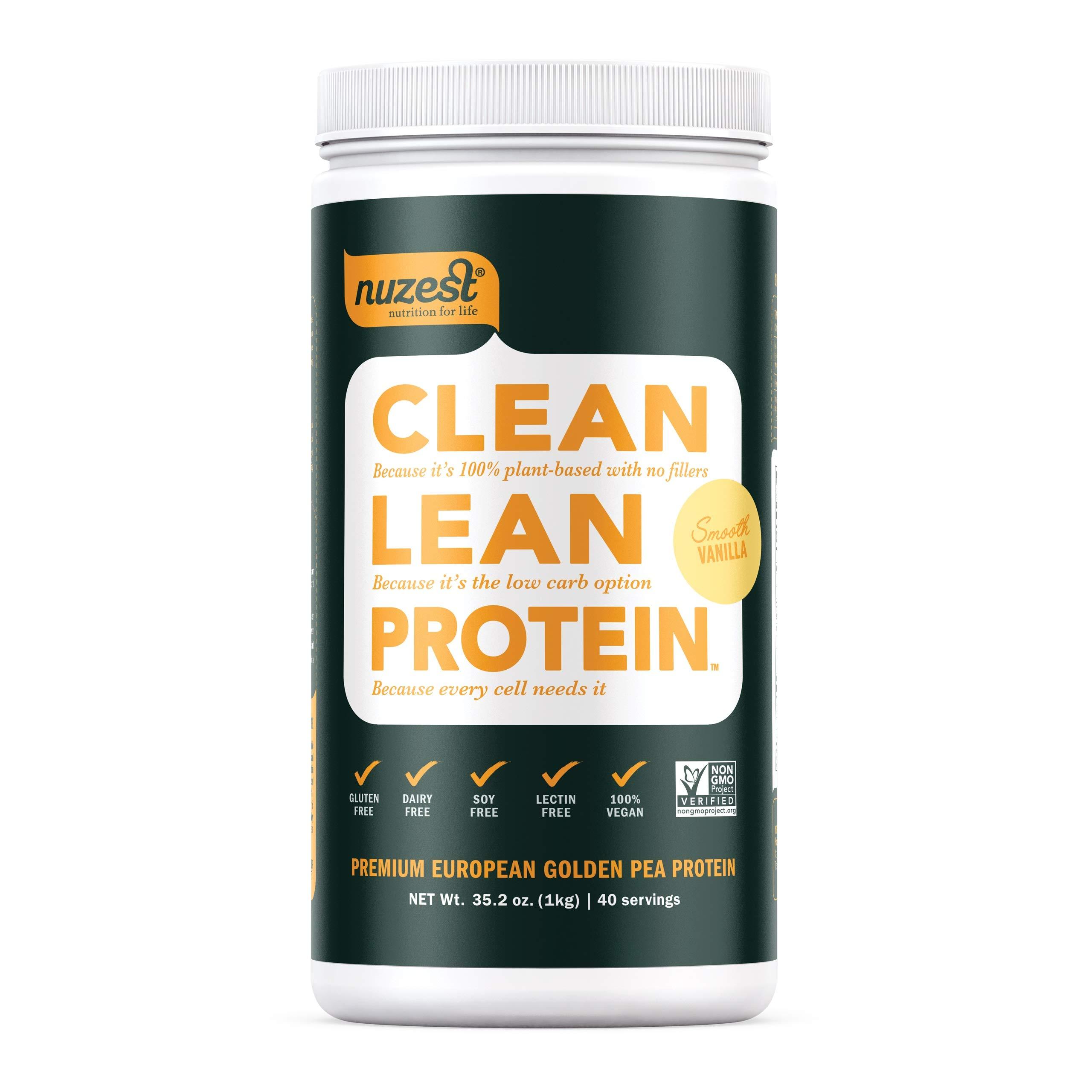 Nuzest Clean Lean Protein - Premium Vegan Protein Powder, Plant Protein Powder, European Golden Pea Protein, Dairy Free, Gluten Free, GMO Free, Naturally Sweetened, Smooth Vanilla, 40 Servings, 2.2 lb by NuZest