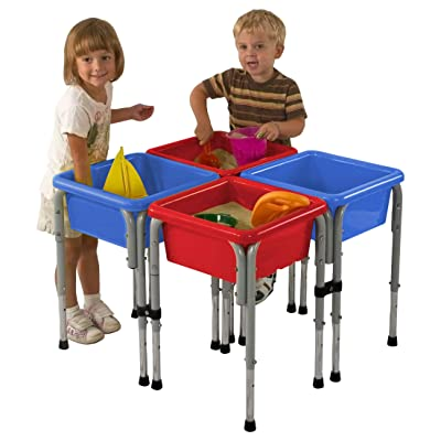 ECR4Kids Assorted Colors Sand and Water Adjustable Activity Play Table Center with Lids, Square (4-Station): Industrial & Scientific