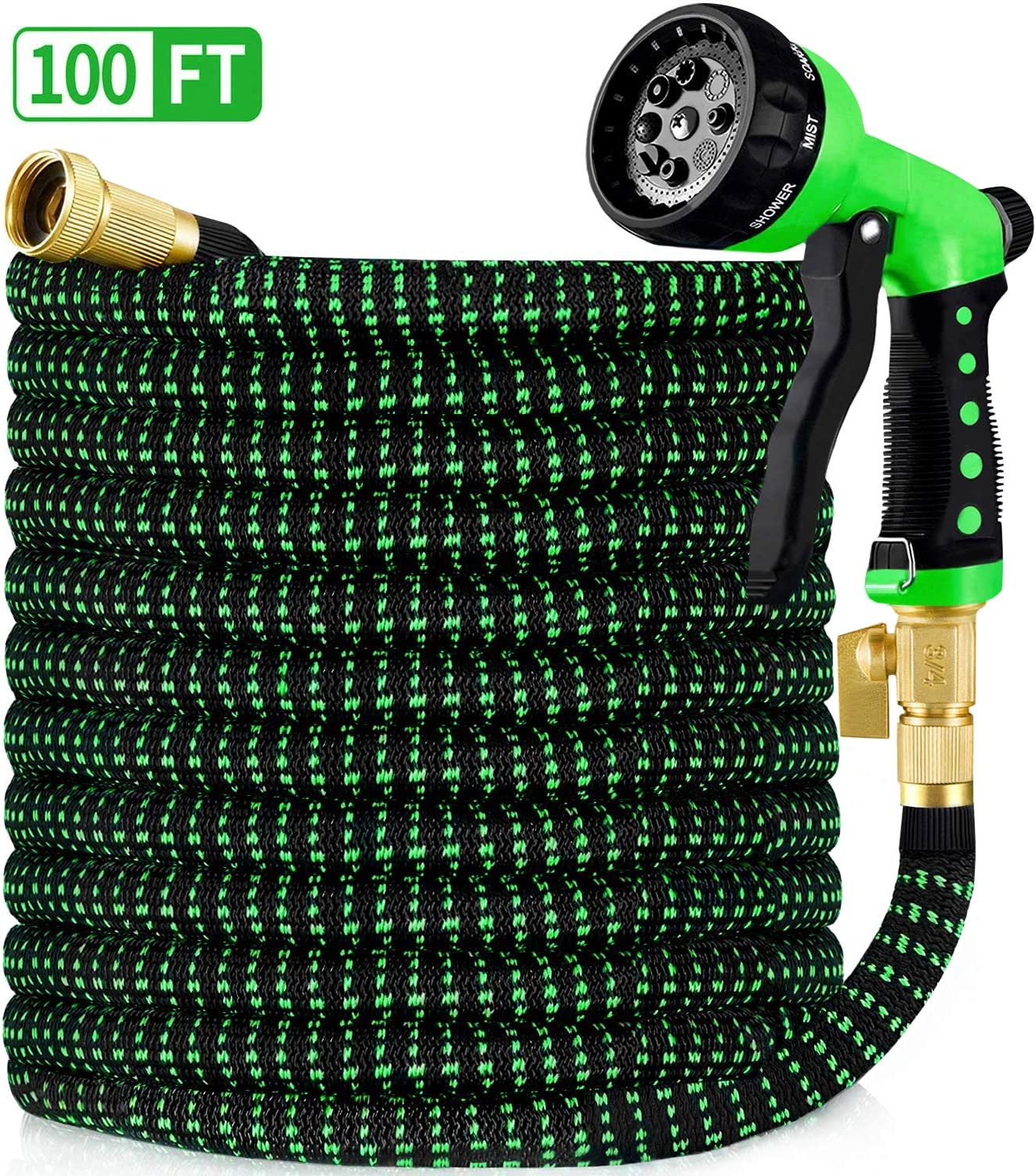 "HBlife 100ft Garden Hose, All New 2020 Expandable Water Hose with 3/4"" Solid Brass Fittings, Extra Strength Fabric - Flexible Expanding Hose with Free Water Spray Nozzle"