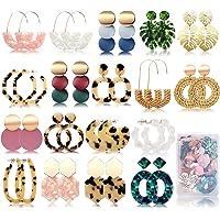 FIFATA 18 Pairs Statement Rattan Earrings for Women Girls Fun Acrylic Hoop Drop Dangle Earrings Fashion Resin Jewelry…