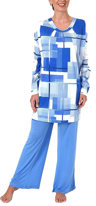 Pyjama in 2 verschiedenen Farbvarianten Langer Schlafanzug für Damen Übergröße