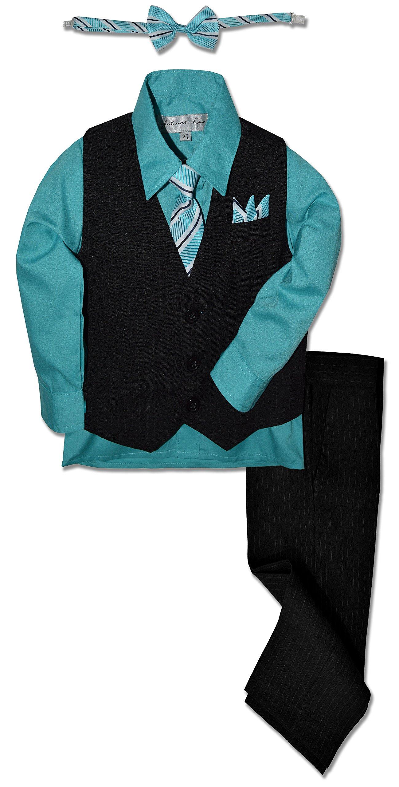 JL40 Pinstripe Boys Formal Dresswear Vest Set (10, Black/Dark Hawaiian)