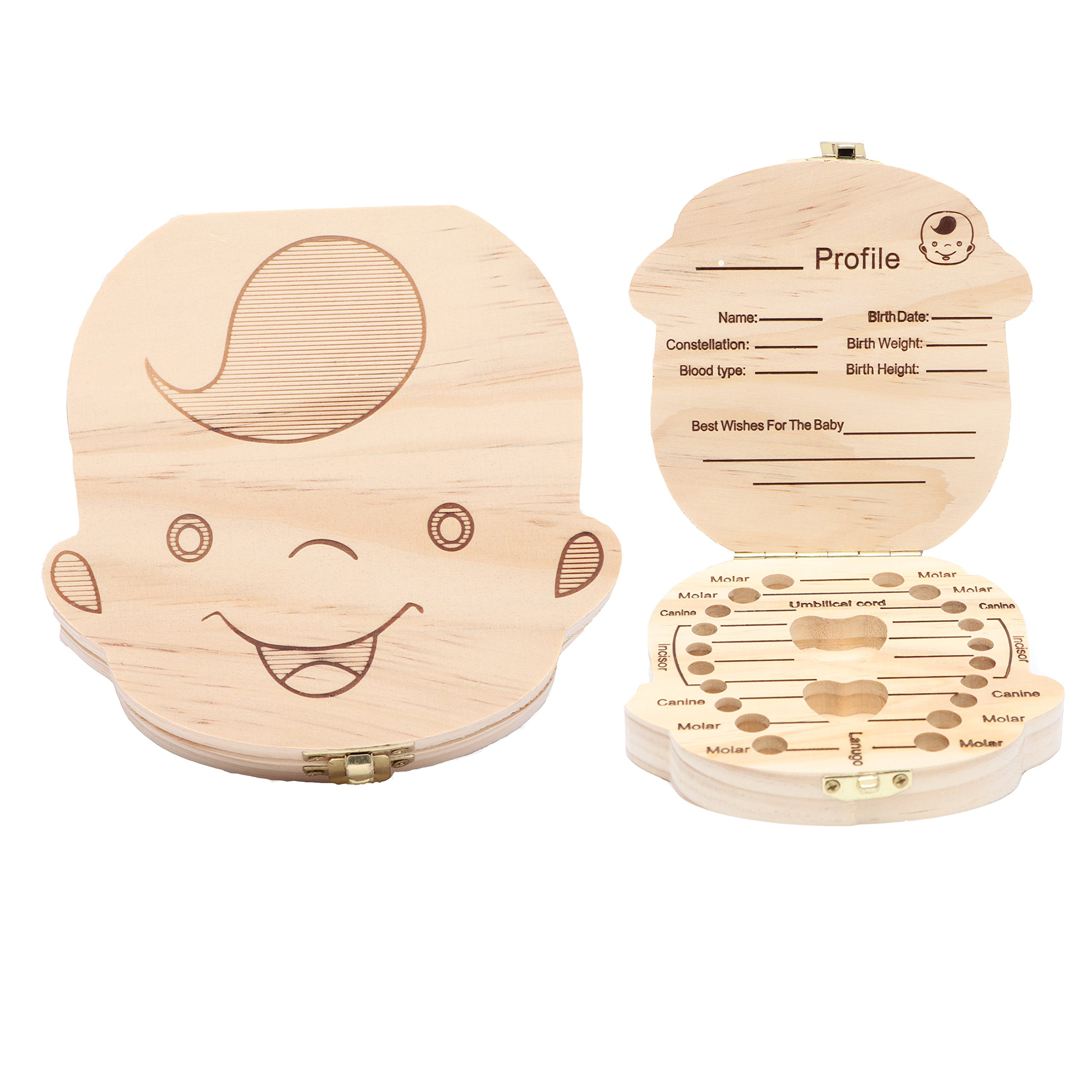 Wooden Baby Tooth Keepsake Box Customize Personalized Baby Teeth Storage Organizer First Lost Milk Teeth Deciduous Souvenir Case (Boy)