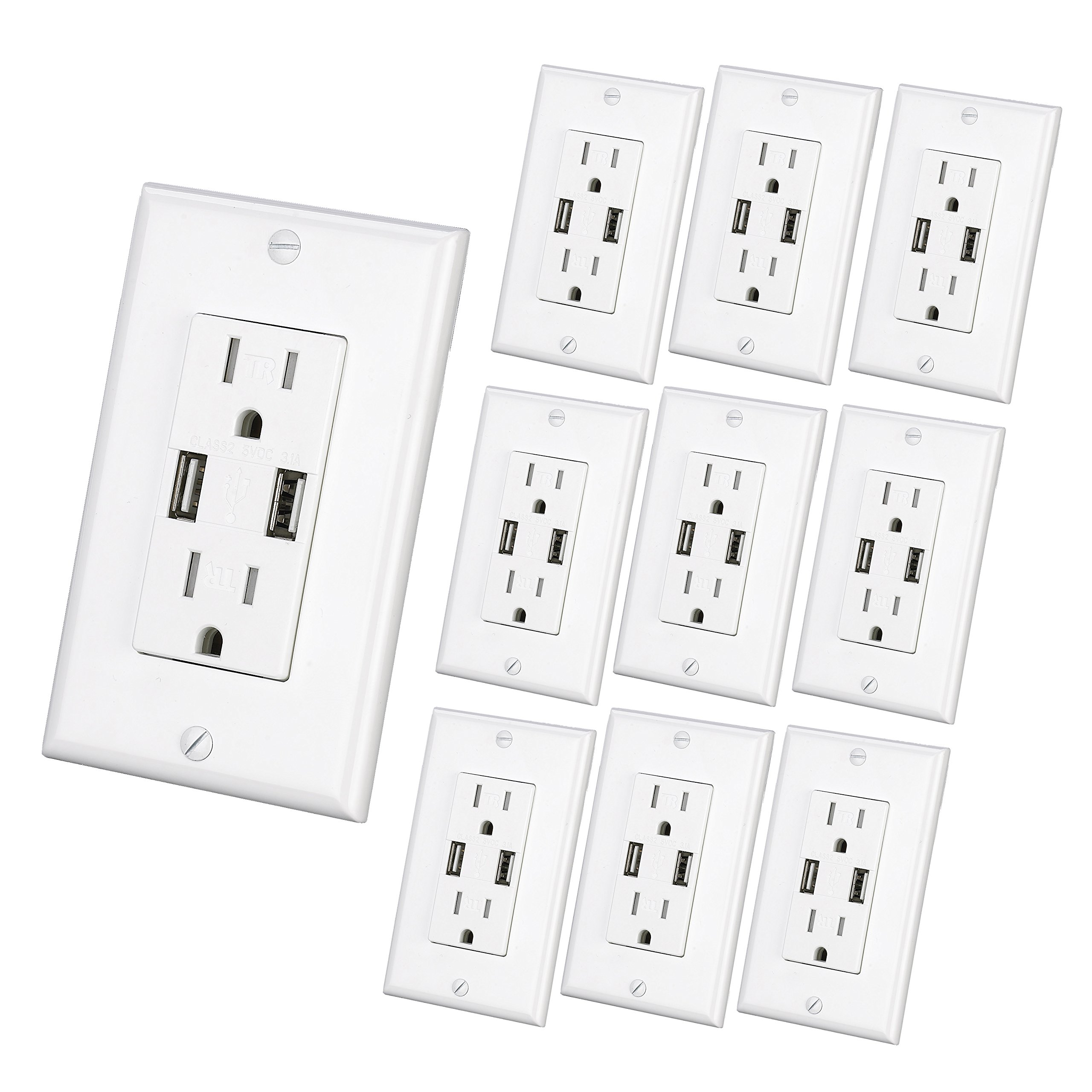 USB Charger Wall Outlet Dual High Speed Duplex Receptacle 15-Amp, Smart 3.1A Quick Charging Capability, Tamper Resistant Outlet Wall plate Included MICMI C10 (White 10pack)
