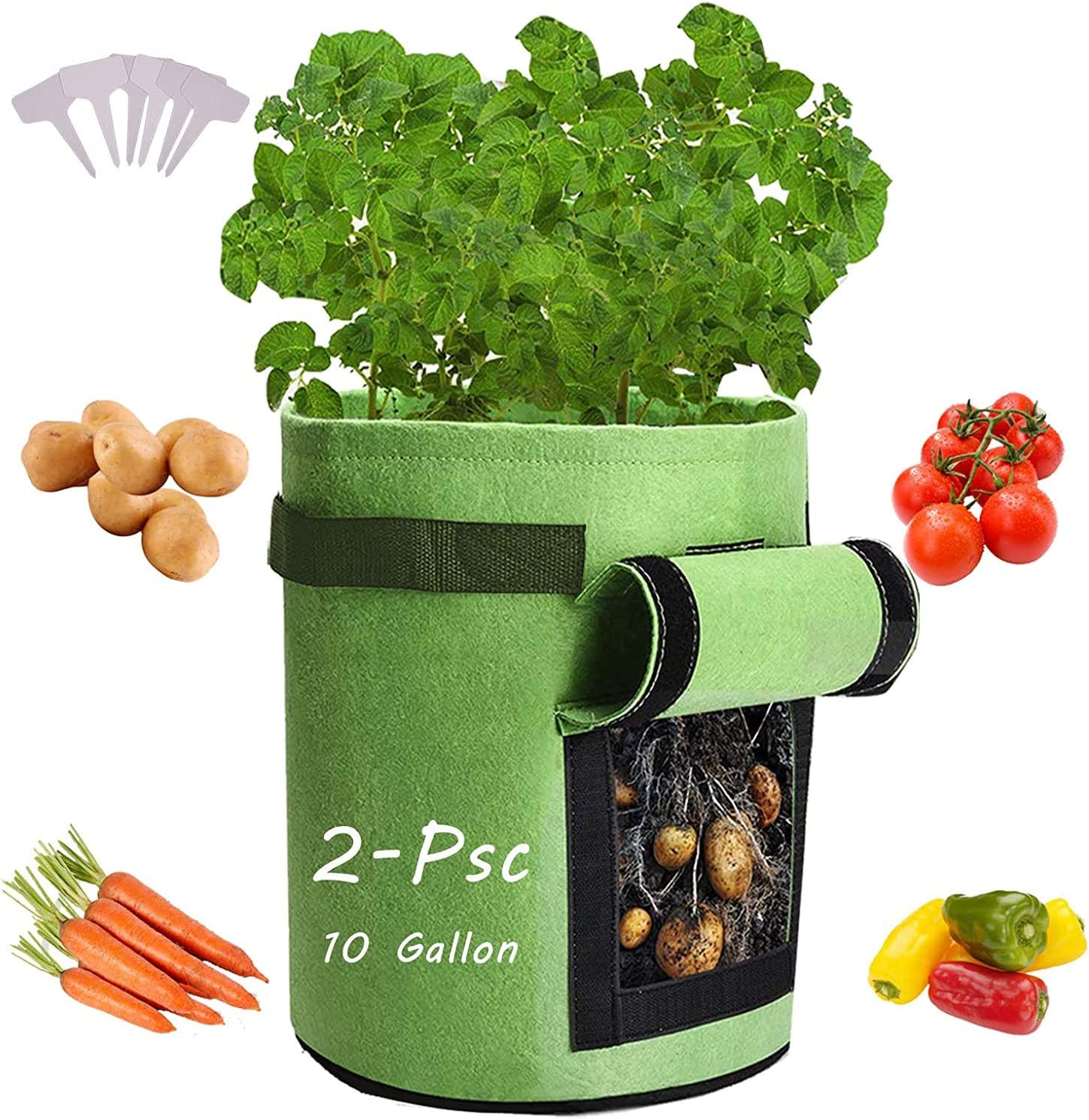 2 Pack Heavy-Duty Plant Grow Bag with Dual Handles and Velcro Window Ideal for Growing Tomatoes Onions Carrots 7 Gallon Potato Grow Bags Fruits and Vegetables