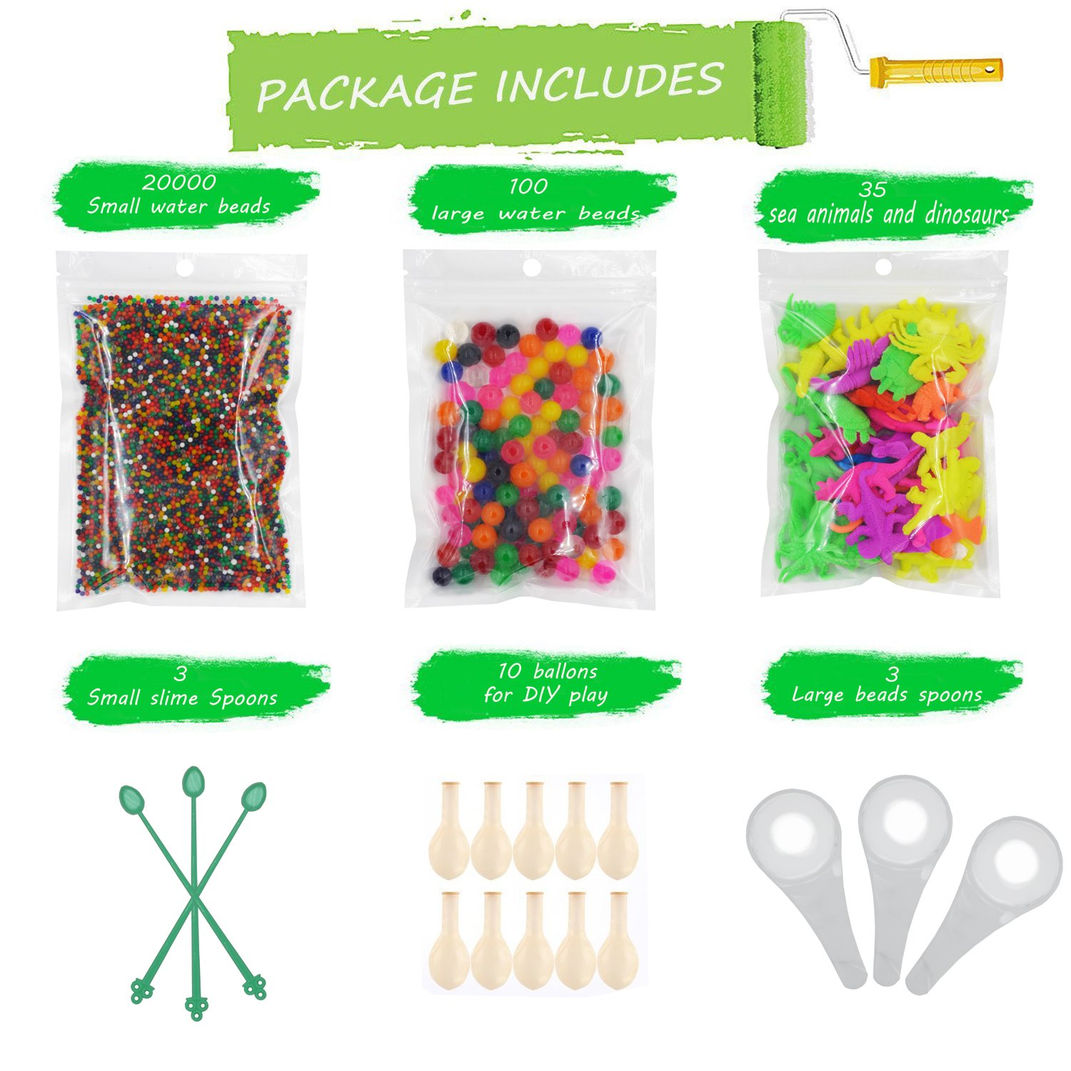 Water Beads Pack (20000 Small water beads/100 Large Giant water beads/35 Ocean Sea Animals Dinosaurs/10 Balloons/3 Small and 3 Large Slime Spoons) Jelly Beads Sensory Toys and Decoration