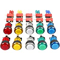EG STARTS 10x New 12V LED lit Arcade Push Buttons With Micro Switch For Jamma Mame Games Parts Multicade Choice of 5…