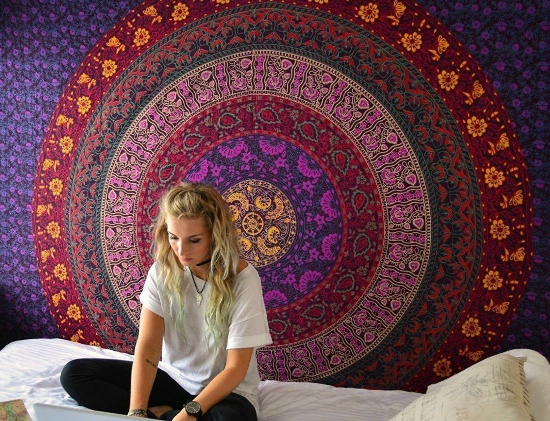Purple Hippie Mandala Tapestry Wall hanging Hippie Tapestry Bohemian Tapestries Psychedelic Tapestry Blanket Bedding Bedspread Dorm Tapestry Bedding Dorm Decor by Jaipur Handloom