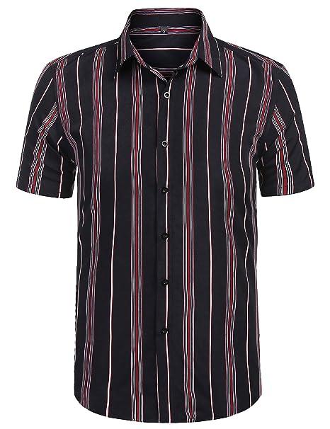 107eebf6cbb30 URRU Men's Fashion Short Sleeve Regular Fit Button Down Shirt Casual  Vertical Striped Dress Shirt S-XXL