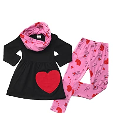0227a8d21 Cute Kids Clothing Toddler Girl Outfit Black Red Big Heart Scarf Boutique  Clothing Set W/