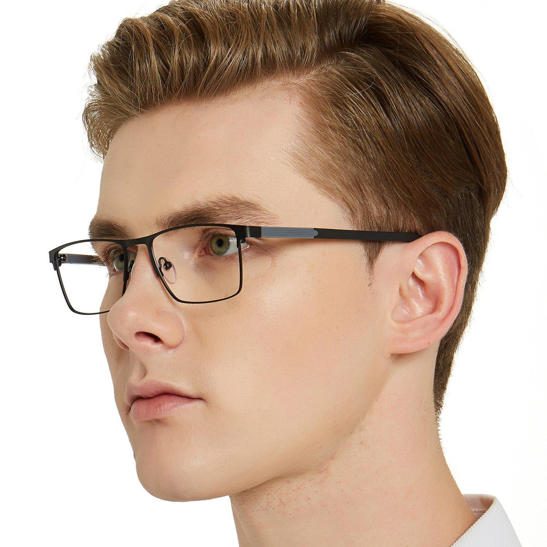 OCCI CHIARI Mens Rectangle Full-Rim Metal Black Non-Prescription Optical Glasses with Clear Lenses 54mm (A -Black/Gery)