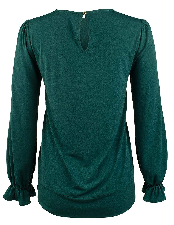 Michael Michael Kors Womens Tie-Front Ruffle-Sleeve Top: Amazon ...