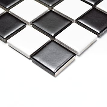 Mosaik Fliesen Keramikmosaik Schachbrett Schwarzweiß Matt Matte - Mosaik fliesen schwarz matt