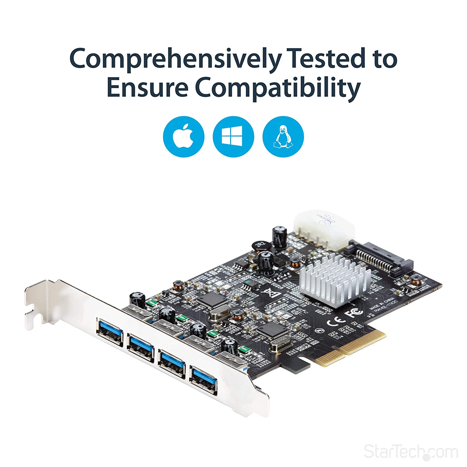 USB 3.1 PCI-e Card 4 Port 4x USB-A With Two 10Gbps Dedicated Channels Expansion