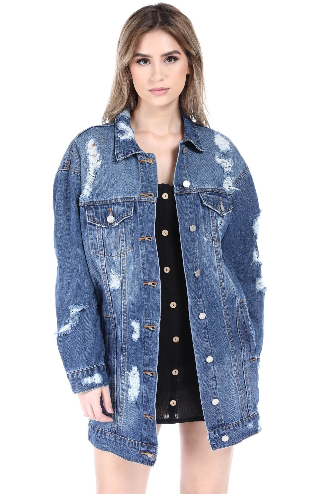 SALT TREE The Blue Jean Women's Destroyed Boyfriend Over Sized Denim Jacket