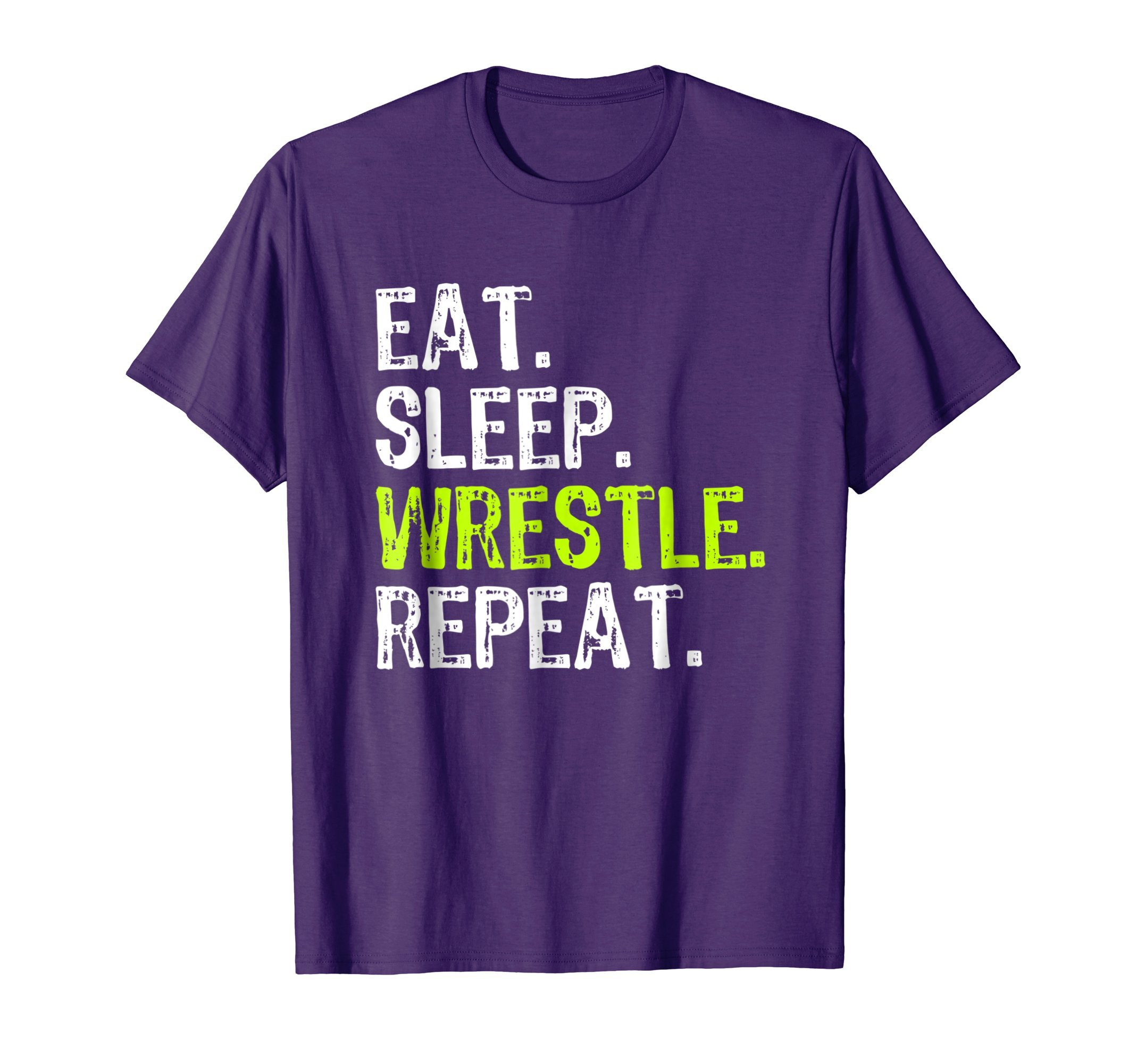 Mens Eat Sleep Wrestle Repeat Wrestling T-Shirt Small Purple