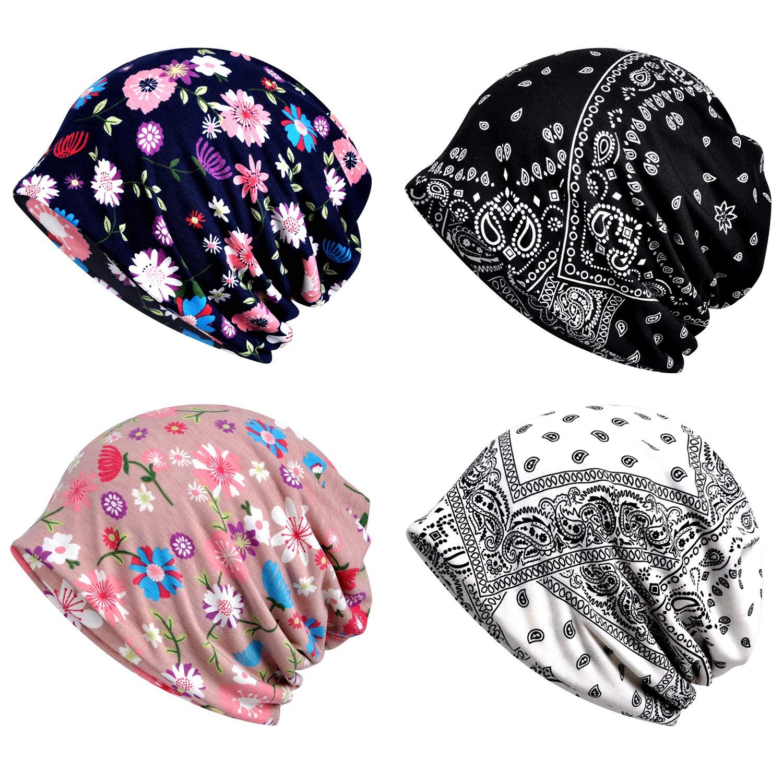 XYIYI Women's Baggy Soft Slouchy Beanie Hat Stretch Infinity Scarf Head Wrap Cap (4Pcs Multicolor1), Medium by XYIYI