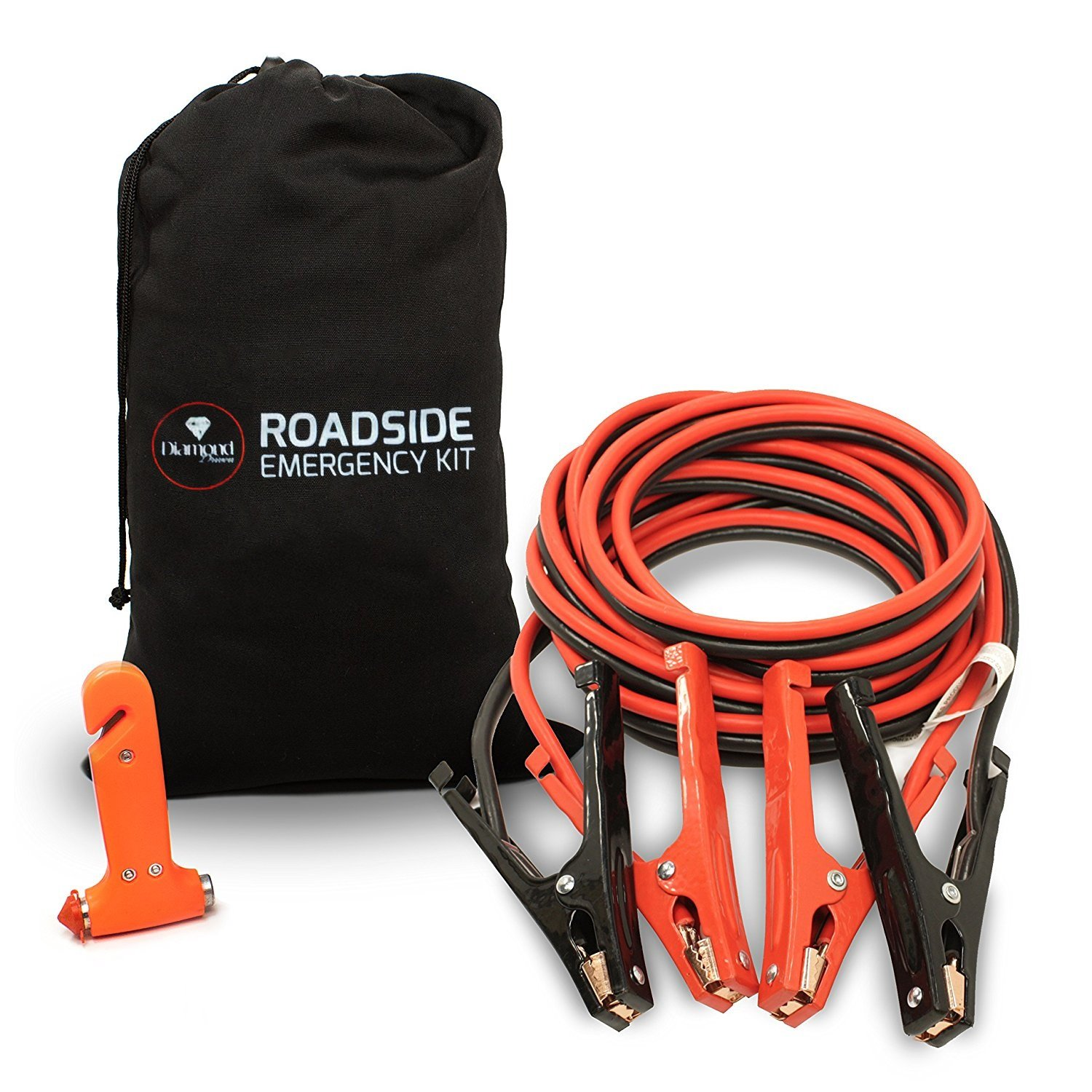 Car Jumper Cables Booster Cable High Performance Battery (400 AMP) 4 Gauge x Extra Long 20Ft in Carry Bag (4AWG x 20Ft) with Heavy Duty Alligator Clamps - Carrying Bag & Emergency Tool Window Breaker