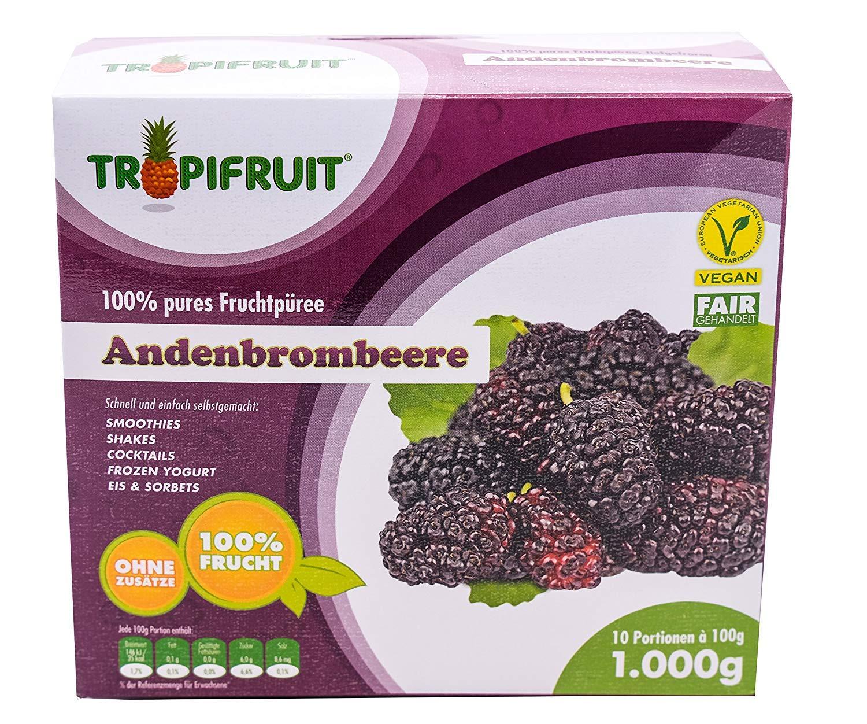 Mûre des Andes - purée de fruits, boîte de 3x1kg (10 x 100g par boîte) TROPIFRUIT